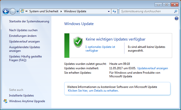 Windows Update unter Windows 7